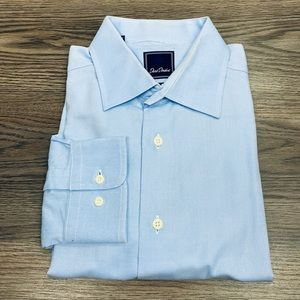 David Donahue Light Blue Trim Fit Dress Shirt 17